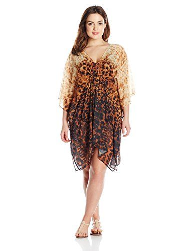 Karen Kane Women's Plus-Size Leopard Effect Rio Caftan Cover Up