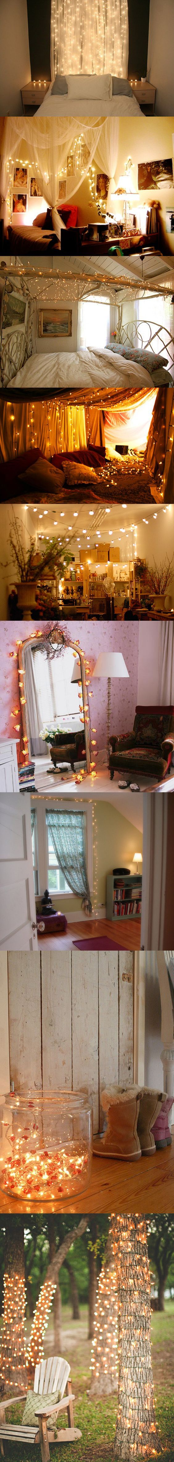 Decorating with Christmas lights. Such cute ideas.