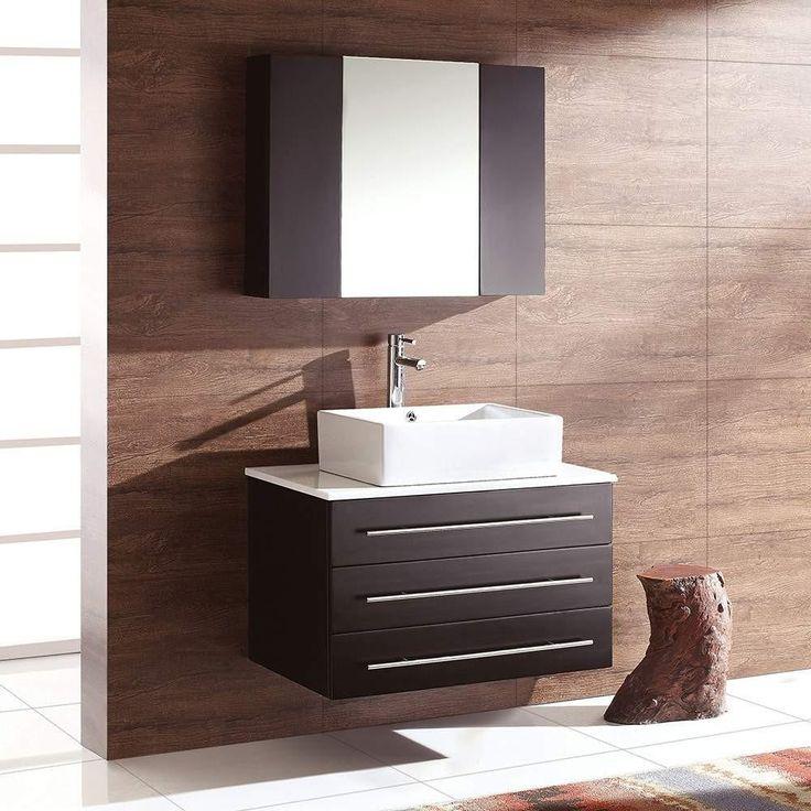 Make Photo Gallery Fresca Modello Espresso Modern Bathroom Vanity w Marble Countertop