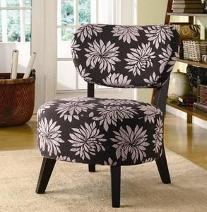 Accent Chair with Dark Floral Patten in Dark Brown Wood Legs