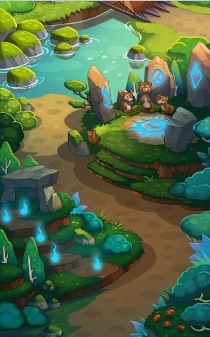 可爱的卡通森林动物游戏场景素材,2D游戏...