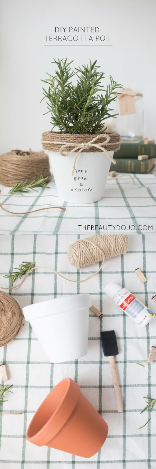 DIY Painted and decorated terracotta pot || Macetas decoradas con cuerda - Vía http://www.thebeautydojo.com/
