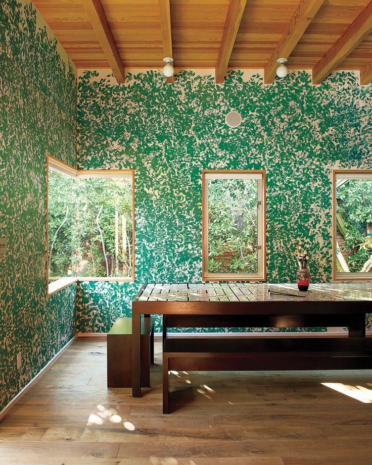 Acid Modernism: corner window + silk-screened walls mimic hedges growing outside +