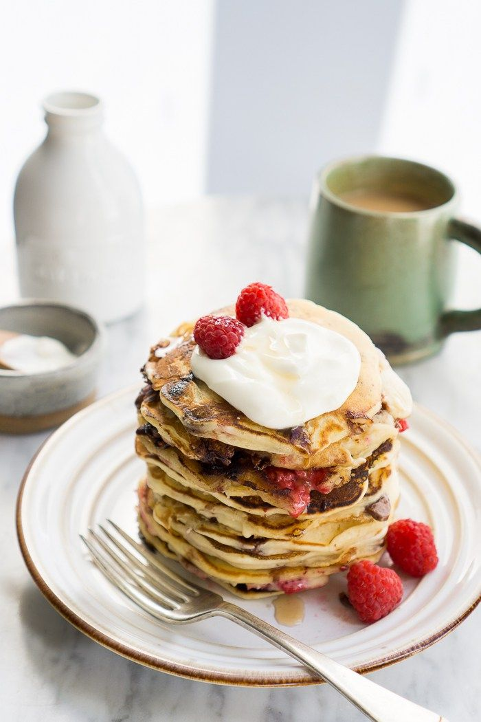 Raspberry and Choc Chip Ricotta Pancakes