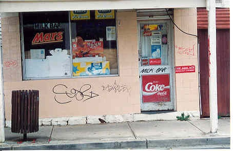 Colour snapshot showing former milk bar at 63 Lewisham Road, Windsor, in 2001.  Photo taken by Kelly Robb.
