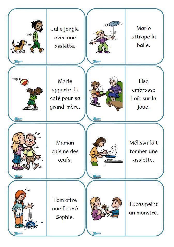 Après les mots, les phrases !  Phrases Mots mélangés Mots tachées : un mot de la phrase est masqué par une tache d'encre