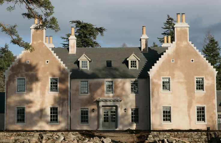 New Build – New Scottish country house of traditional masonry construction with coloured lime harl finish and granite margins. See more at http://anta.co.uk/made-in-scotland/architecture/new-build #architecture #anta