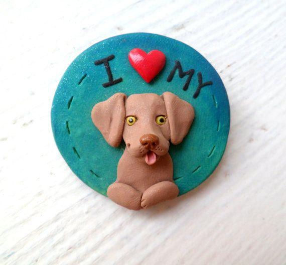 Braco de Weimar me encanta mi perro esculpida arcilla broche por Raquel de la mano WRC esculpida original pin de perro