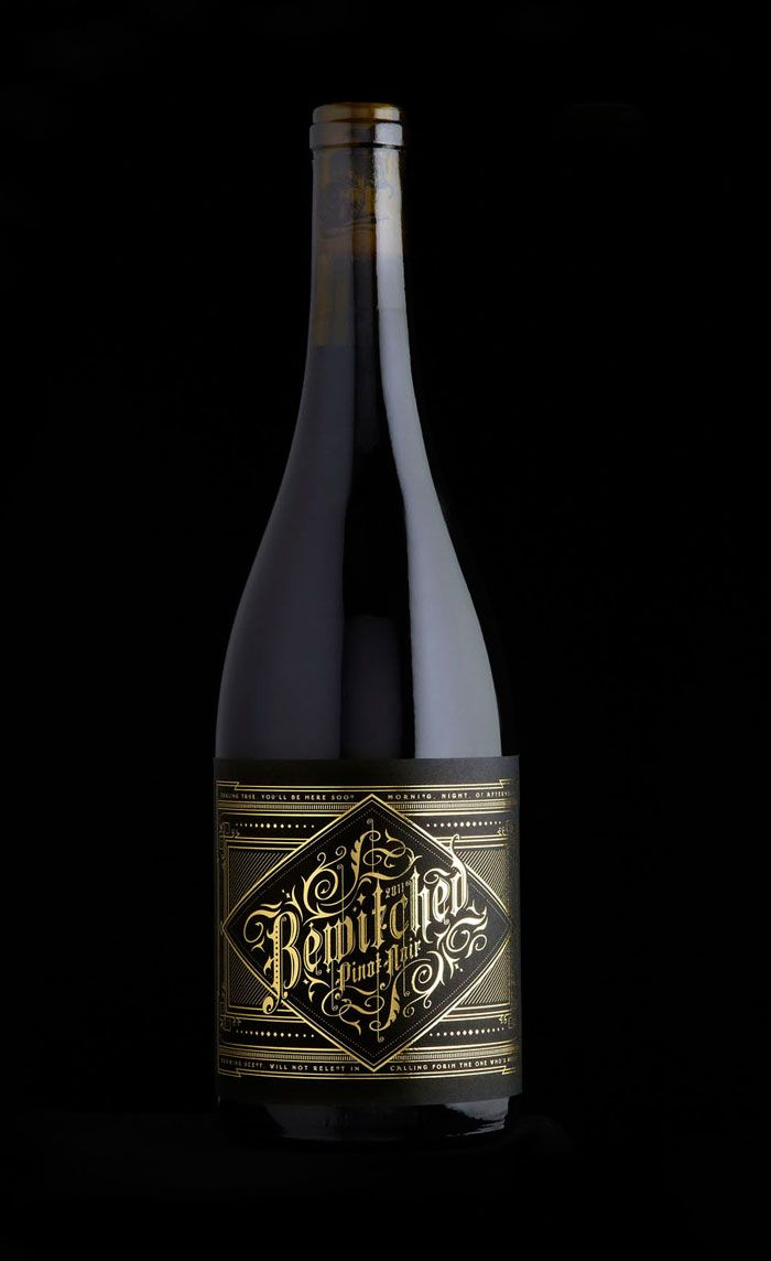 """""""Bewitched is a dark rich Californian red wine. The name is so good that you don't need to do too much apart from making it dark and sexy. The reserve level is screened matt back onto the bottle."""""""