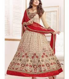 Buy brown embroidered semi-stitched anarkali salwar suits anarkali-salwar-kameez online