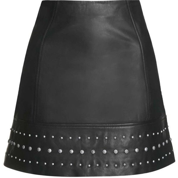 TOPSHOP Leather Studded Hem Mini Skirt found on Polyvore featuring skirts, mini skirts, saias, bottoms, topshop, black, short skirts, black mini skirt, black miniskirt and short mini skirts