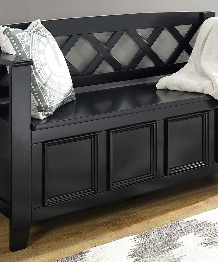 Another great find on #zulily! Simpli Home Black Amherst Entryway Storage Bench by Simpli Home #zulilyfinds