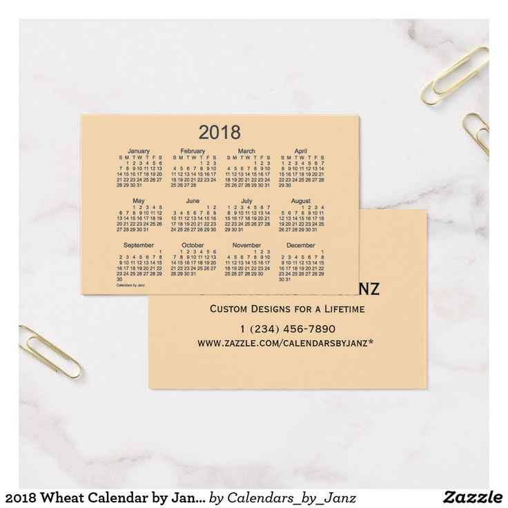 2018 Wheat Calendar by Janz Euro Business Card