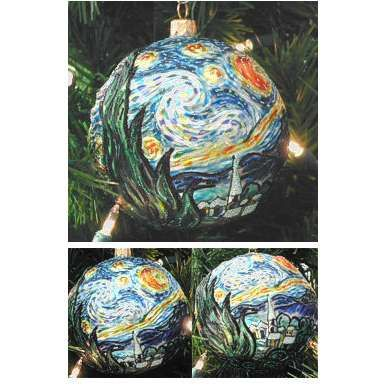 starry night christmas ornaments