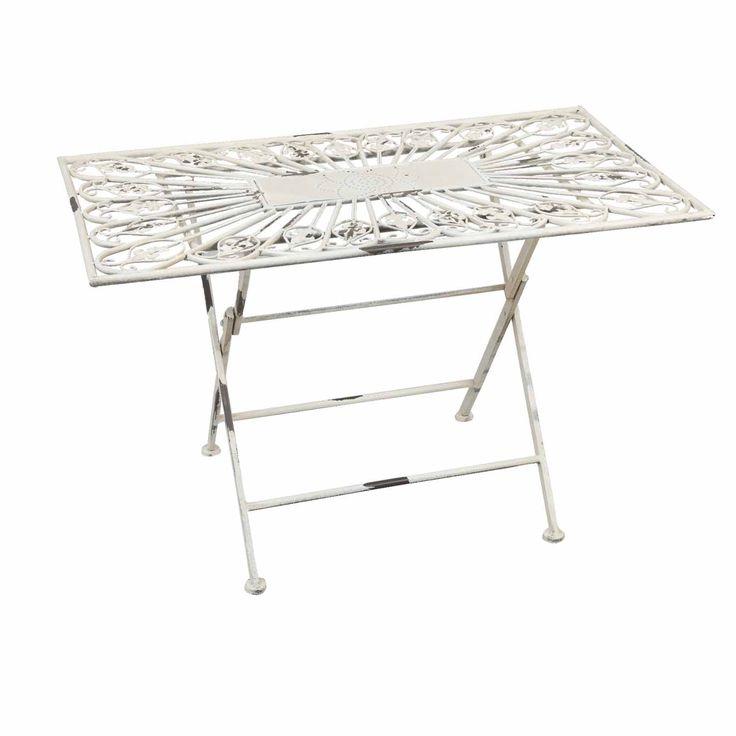 Záhradný stolík skládací biely