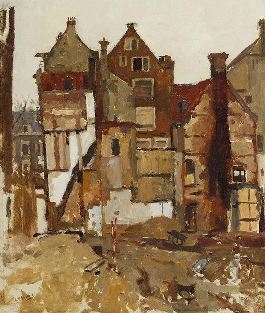 George Hendrik Breitner - Demolition in the Oudezijds Achterburgwal / Sintagnietenstraat in Amsterdam, for the extension of the city hall (1903) by Cea., via Flickr