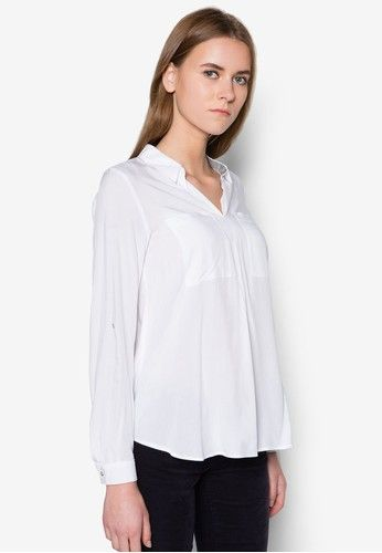 Flowing Blouse with Jersey Details