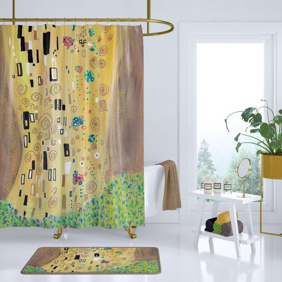 Gold Abstract Shower Curtain Inspired By Gustav Klimt S The Kiss