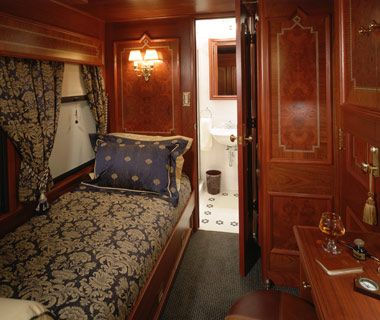 Travel in a train car like this.  Royal Canadian Pacific; Canadian Pacific Railway Company, Canada