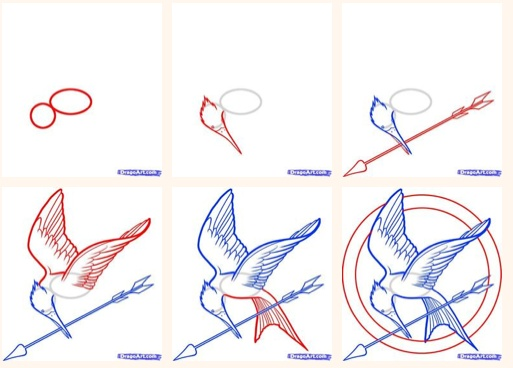 How to draw the Mockingjay Pin- guess who is going to do this today? :)