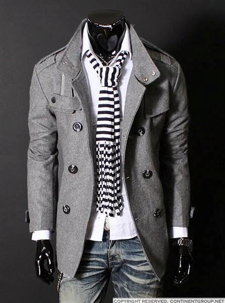 Мужские пальто серого цвета