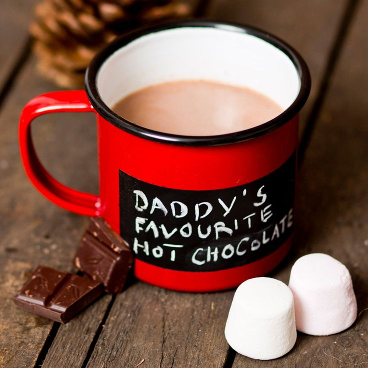 This personalized blackboard mug is best delivered with a heartfelt message or drawing.