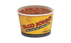 Taco Johns Roasted Tomato Salsa recipe = 2 Tbls, 10 calories, 0 fat, o protein, 1 g. fiber