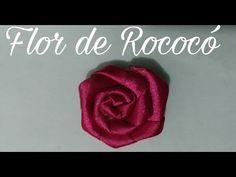 Flor de rococó feita com fita de cetim número 9, lembrando q também pode ser feita na fita de gorgurão número 9 ou num 5.
