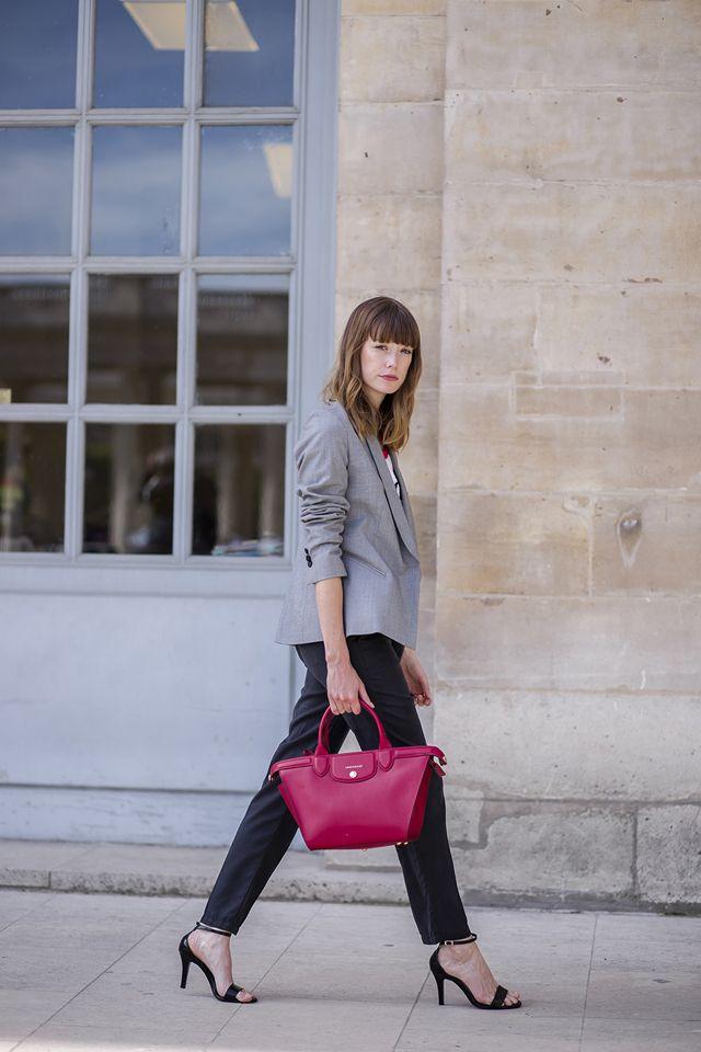 Grey blazer, black pants & red Longchamp bag