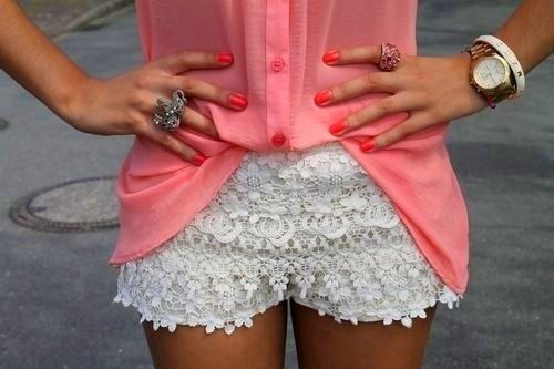 Clothes. Clothes. Clothes. Clothes. Clothes.Fashion, Summer Outfit, Style, Shirts, Crochet Shorts, Pink, White Lace, Lace Shorts, Summer Clothing