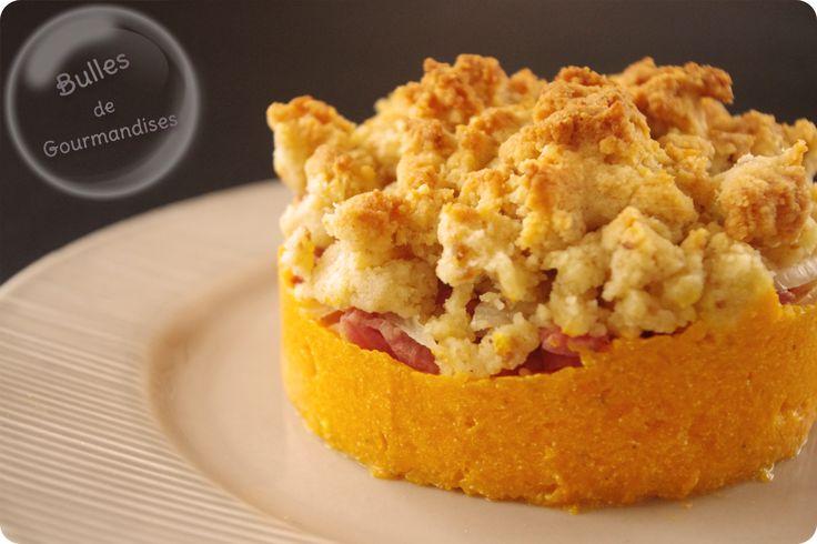 crumble de butternut  http://www.bullesdegourmandises.com/crumble-de-courge-butternut-au-parmesan-bacon-et-oignons-un-gout-de-paradis
