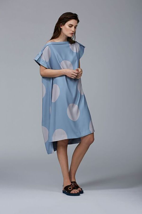 Ty-lr - The Grey And Duck Egg Dot Factor Dress