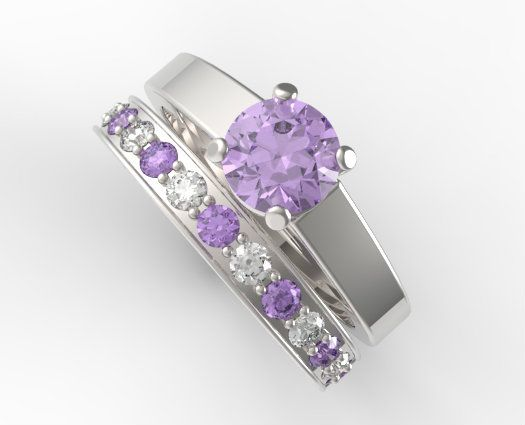 unique alternating amethyst diamond wedding ring set vidar - Amethyst Wedding Rings