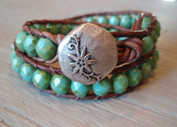 .Boho Chic, Beads Leather, Leather Wrap Bracelets, Diy Fashion, Bohemian Bracelets, Diy Gift, Rustic Bohemian, Leather Wraps Bracelets, Beaded Leather Wraps