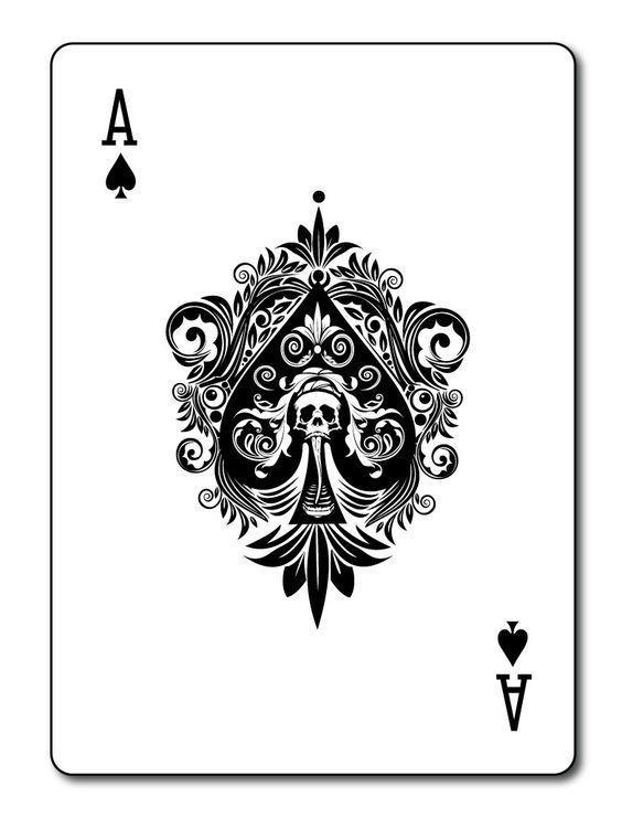 Ace Spades Death Card Tattoo Design: