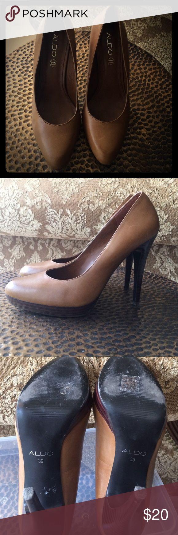 "❤️Aldo tan high heels Genuine leather,  5"" high heel with 3/4"" base platform. Camel/tan color in good condition. Aldo Shoes Heels"