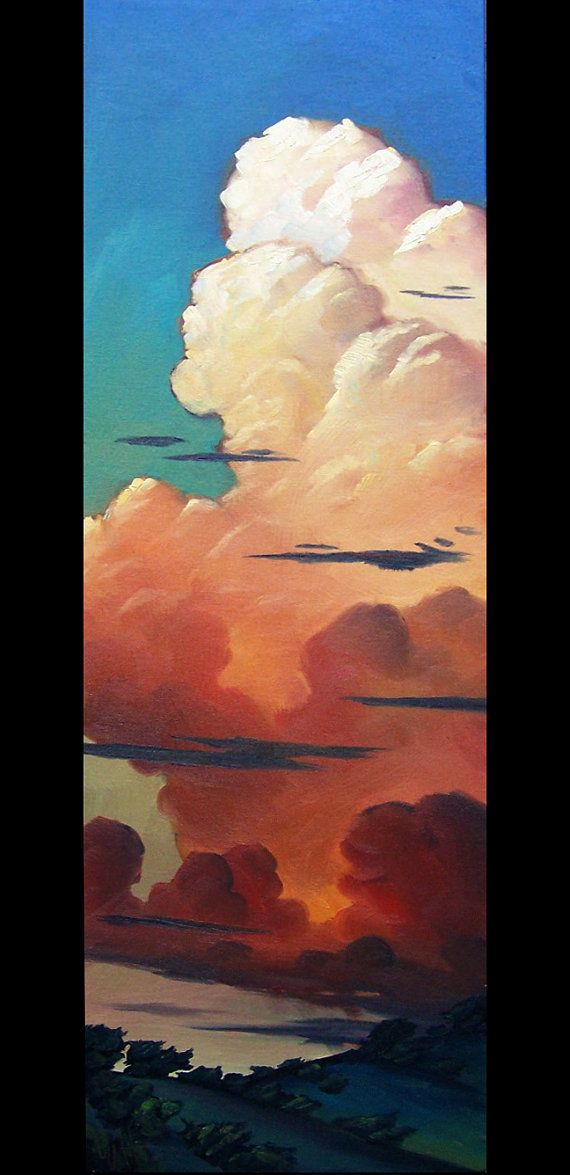 Art Oil Painting Original Clouds by Plein air artist by ARTpaco, $395.00