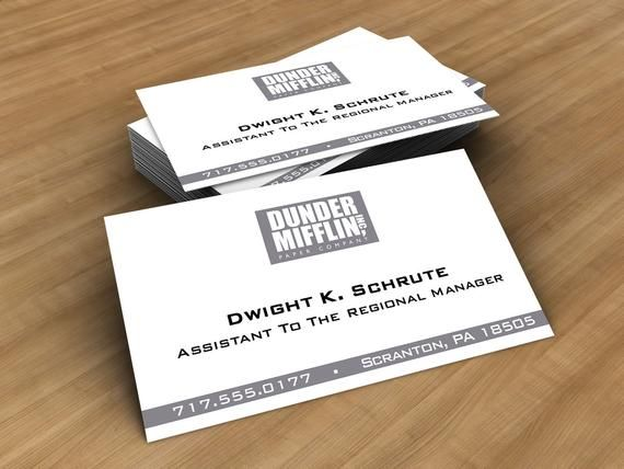 Dwight Schrute Business Card Assistant To The Regional Manager Novelty Printed Business Card The Office Gift Dunder Mifflin In 2021 Printing Business Cards Business Design Office Gifts