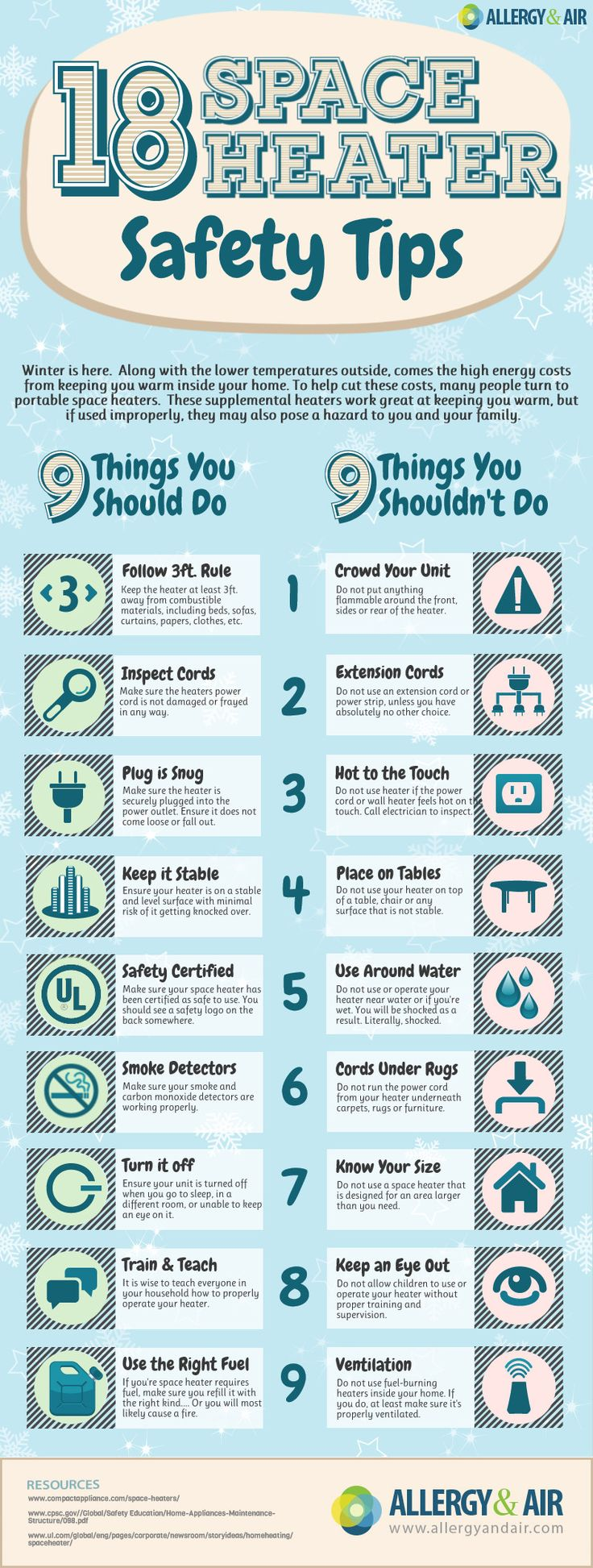 INFOGRAPHIC: 18 Safety Tips For Portable Space Heaters -- #spaceheater