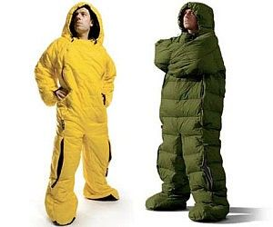 Too cold to leave your sleeping bag in the morning?  Never leave your sleeping bag again with this wearable sleeping bag!