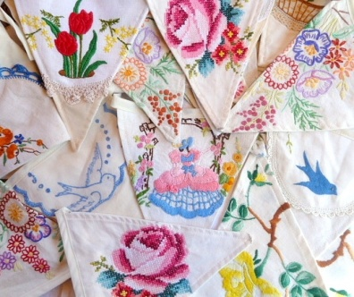 Vintage Upcycled Bunting ~ Hand made from vintage hand embroidered fabrics.