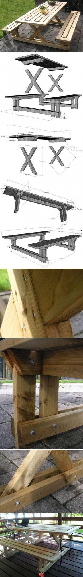 2470 best Table de jardin images on Pinterest Garden table - plan pour fabriquer un banc de jardin