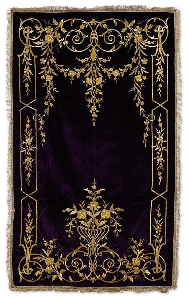 Late-Ottoman palace prayer rug, 19th century.  'Goldwork' embroidery (golden metal thread) on velvet.