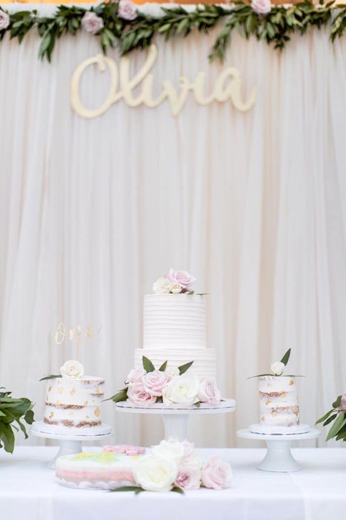 Cakes from a Floral First Birthday Party on Kara's Party Ideas | KarasPartyIdeas.com (15)
