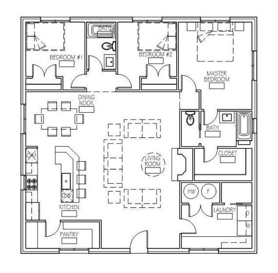 The Hideaway Cottage 40 X40 Cottage Floor Plans Floor Plans Cottage Plan