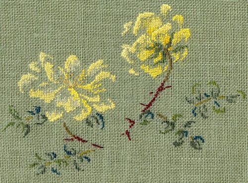 Par brodeuse Marie-Thérèse Saint-Aubin (embroidery works by Marie-Thérèse Saint-Aubin) | http://www.archive-host2.com/membres/images/1336321151/fleurs/roses/Rosa_spinosissima/double_Yellow-d.jpg
