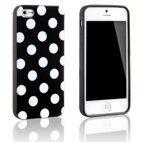 Tinxi Silikon Schutzhülle für Apple iPhone 5S iPhone 5 Hülle Silicon Rückschale Gel Skin Cover Case Etui schwarz mit weiß Punkt Polka Dots