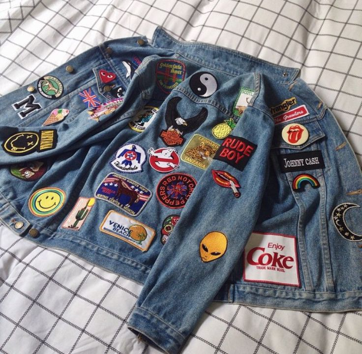 Perfect weekend crafting via Maddison! A bunch of new patches have just landed online... #denimjacket #patcheddenim