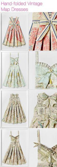 hand folded map dresses