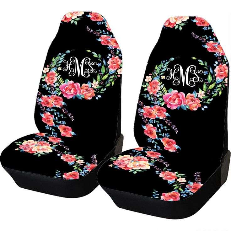 Classy Black Floral Car Seat Covers Set Of Two Front Seat Covers Monogrammed Personalized Car Accessories Seat Covers For Car For…
